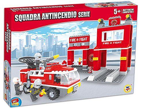 teorema 64779 - set costruzioni click clack mattoncini compatibili stazione squadra antincendio