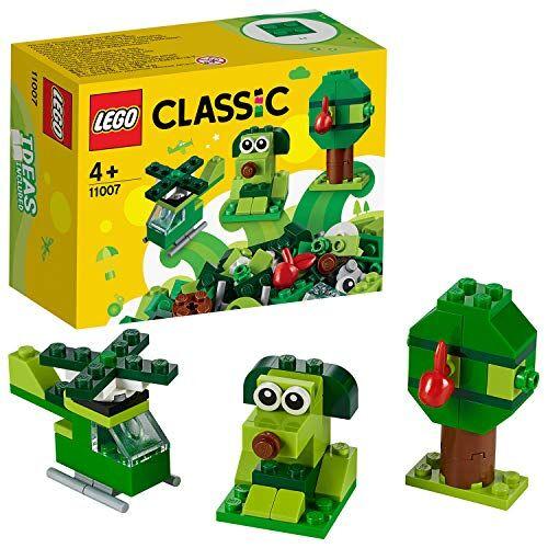 lego classic mattoncini creativi per creare e ricreare oggetti in tema green, set di costruzioni per bambini +4 anni, verde, 11007
