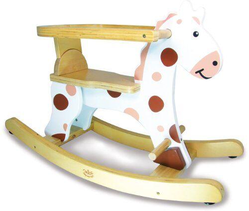 vilac 1107 - cavallo a dondolo gioco prima infanzia, telaio bianco con barriera di sicurezza