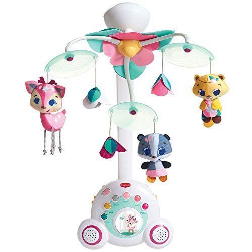 tiny love giostrina neonato per lettino e culla, giostrina musicale con stereo per bambini portatile, carillon fino a 40 minuti di musica, tiny princess, colore rosa