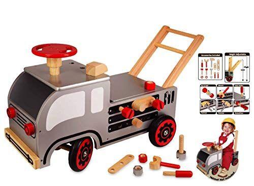 i m toy carrellino camion fai da te cavalcabile-giocattolo, carrello primi passi in legno prima infanzia - im87540