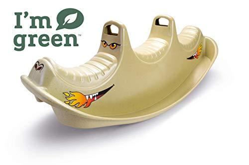 dantoy - dondolo e altalena, giocattoli ecologici in canna da zucchero con 3 posti a sedere e prodotti in danimarca dragon rocker