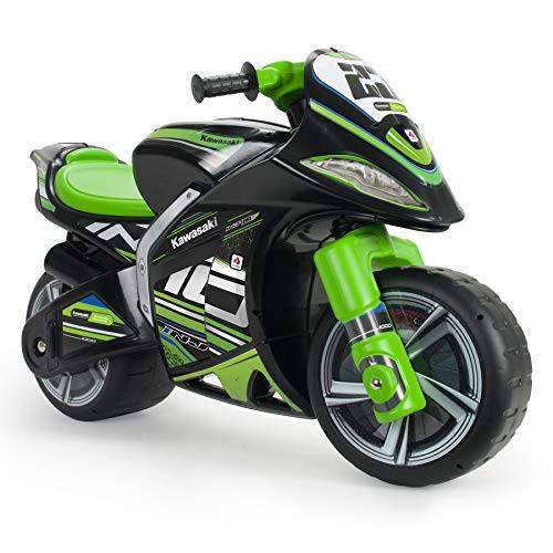 injusa - moto primi passi winner kawasaki xl nero e verde raccomandato per bambini +3 anni con ruote larghe e maniglia per il trasporto