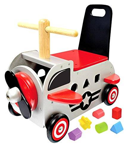 i m toy primi passi carrellino in legno aereoplano 39x34x42 per bambini et 12 mesi