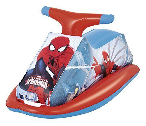 Bestway 98012 - Cavalcabile Moto Acqua Spiderman, 89x46 cm, Rosso/Blu