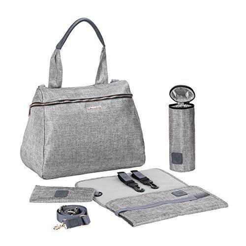Laessig LSSIG Borsa per pannolini con accessori Borsa Fasciatoio/Glam Rosie Bag, grigio luccichio