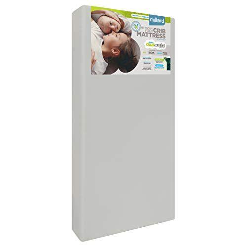 milliard bedding milliard memory foam materasso per culla, doppio comfort, ipoallergenico con copertura impermeabile (140 cm x 70 cm x 12,5 cm)