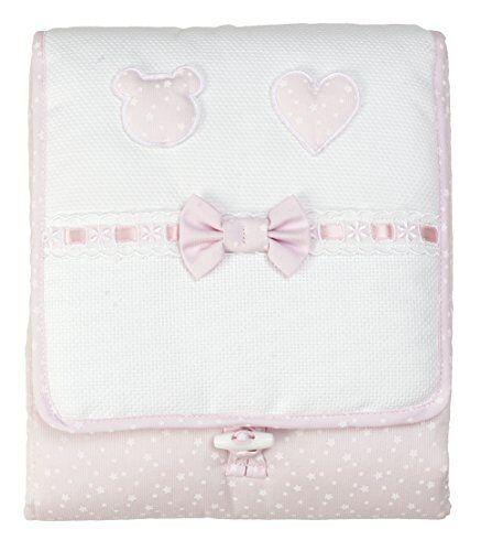 filet - fasciatoio da borsa i morbida e igenica spugna i 100% cotone i prodotto realizzato in italia i per neonati/prima infanzia - bianco, rosa