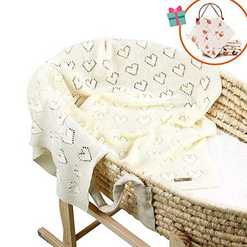 odot coperta bimbo in maglia per bambino, odot cotone soffice dormire di coperta unisex neonato morbida coperta swaddle perfetta per culla, carrozzina, lettino (azzurro,100 x 80 cm)