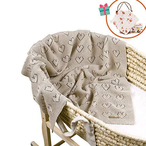odot coperta bimbo in maglia per bambino, odot cotone soffice dormire di coperta unisex neonato morbida coperta swaddle perfetta per culla, carrozzina, lettino (marrone chiaro,100 x 80 cm)