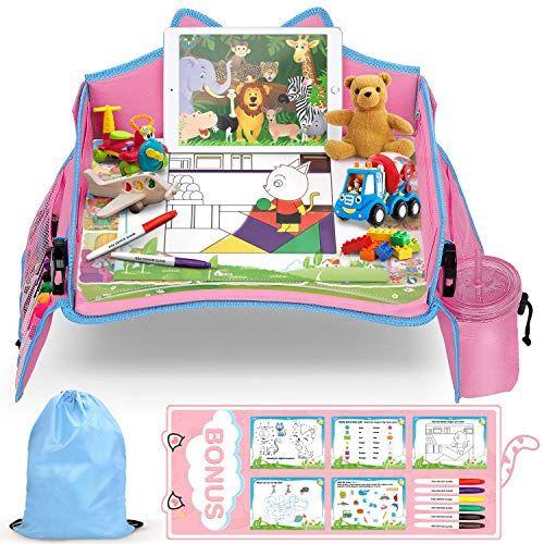 lenbest vassoio da viaggio, apprendimento al coperto gioco educativo gioco da tavolo con piano cancellabile a secco - 6 penne e 5 carte da disegno - vassoio multifunzione per bambini (rosa & blu)
