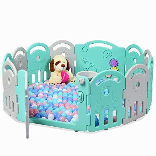 costway box per bambini barriera di sicurezza 12 pannelli, box bambini con porta e giochi, recinto di sicurezza pieghevole (verde/grigio)