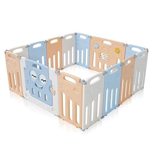 baby vivo box bambini recinto cancelletto pieghevole sicurezza barriera giochi protezione 14 elementi in blu e beige - luna