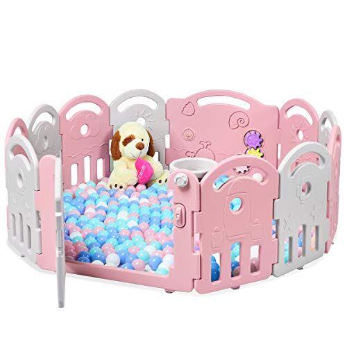 costway box per bambini barriera di sicurezza 12 pannelli, box bambini con porta e giochi, recinto di sicurezza pieghevole (rosa/bianco)
