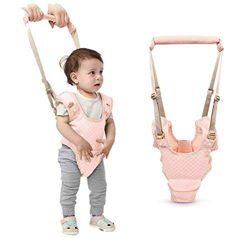 ubravoo camminare assistente per bambino, cintura bimbo bretelle di sicurezza per bambino sostegno portatile, l'aiuto del deambulatore adatto per neonati da 8-24 mesi (rosa)