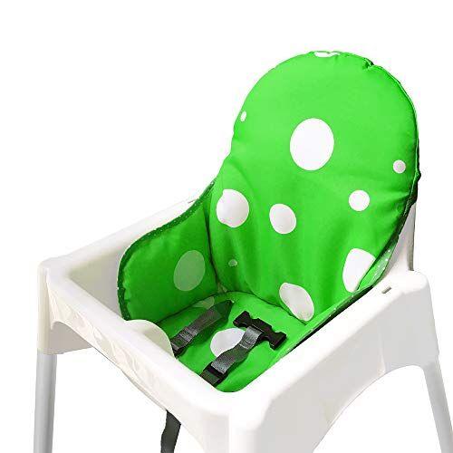 ZARPMA Cuscino Seggiolone coprisedili per Ikea Antilop,Lavabile per Bambini Pieghevole Ikea Childs Sedia coprisedili Ricoperto-Non Include Di Seggiolone E Cintura Di Sicurezza (Verde)