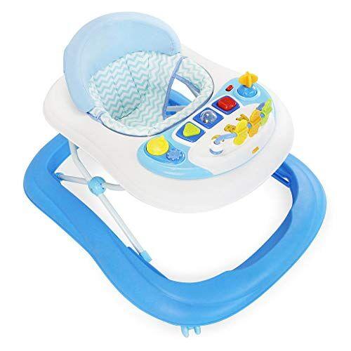 leogreen - girello bambino 6-18 mesi, girello primi passi con luce e melodia, girello neonato pieghevole e altezza regolabile, girello per bambini con freno, blu