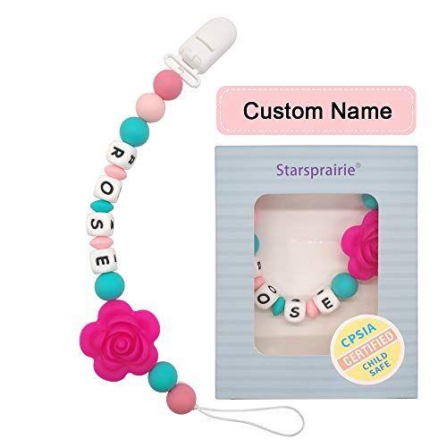 speu dentifricio nome personalizzato dentizione sollievo dal dolore giocattoli silicone commestibile perline masticabili binky holder fissato per neonato bambino baby shower (rosa)