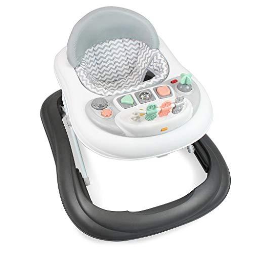 leogreen - girello bambino 6-18 mesi, girello primi passi con luce e melodia, girello neonato pieghevole e altezza regolabile, girello per bambini con freno, grigio