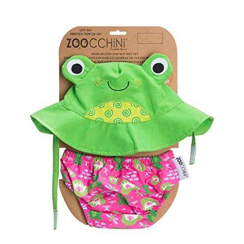Zoocchini - Set Baby Costumino Contenitivo e Cappellino, Multicolore (Rana), L (12-24 mesi)