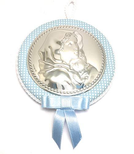 valenti&co capezzale medaglione per culla bimbo cod.104922c con placchetta in argento