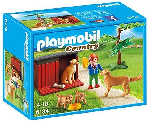 playmobil 6134 - cuccia famiglia di cani, multicolore