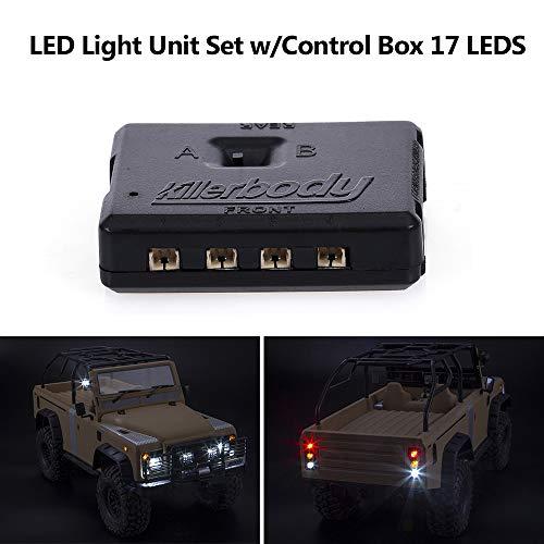 walmeck- killerbody kit luci a led con scatola di controllo 17pcs led per kb 1/10 marauder  axial scx10 traxxas trx-4 rc car