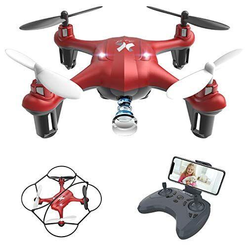 ATOYX Giocattoli per Bambini Mini Drone con Telecamera FPV WiFi Trasmissione G-sensore AT-96 RC Quadcopter Regalo Un Pulsante di Decollo/ Atterraggio ,modalit Senza Testa Protezioni 360 (Rosso)