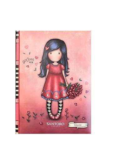 diario scuola compatibile con gorjuss fucsia bambina con fiori 10 mesi non datato 18x13 cm + omaggio penna colorata