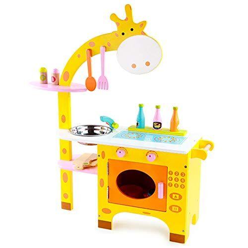 Arkmiido Cucina Giocattolo per Bambini Legno,Cucina Legno per Bambini,Montessori Educativo Regalo Perfetto per Bambini,con Lavello,Armadi, Accessori Cucina53.5x22x74.5cm (Giallo)