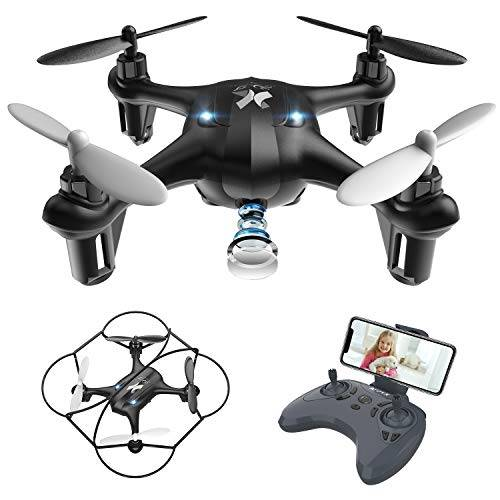 ATOYX Giocattoli per Bambini Mini Drone con Telecamera FPV WiFi Trasmissione G-sensore AT-96 RC Quadcopter Regalo Un Pulsante di Decollo/ Atterraggio ,modalit Senza Testa Protezioni 360 (Black)