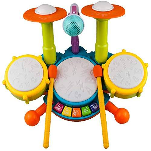 Rabing Tamburo Giocattolo Bambino Strumenti Musicali Luce Flash e Microfono Regolabile, Regalo di Compleanno per l'apprendimento precoce per Ragazzi e Ragazze di 1-12 Anni, Multicolore