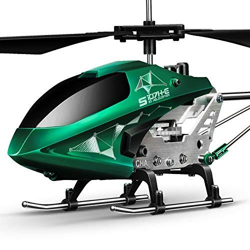 syma s107h-e - elicottero radiocomandato con telecomando, elicottero rc per interni, regalo per bambini, 3,5 canali, 2,4 ghz, led luminoso, altezza regolabile, colore: verde