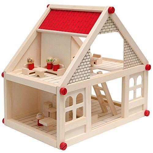 eyepower casa delle bambole a due piani in legno naturale   incl. mobili + 4 personaggi   casetta in miniatura   facile da montare