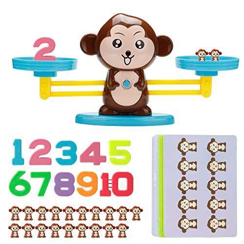 Vintoney Giocattolo Educativo Bambini Bilancia Equilibrio a Forma di Scimmia Animale Gioco di Apprendimento Studia Matematica Conteggio Giochi per Bambini pi di 3 Anni