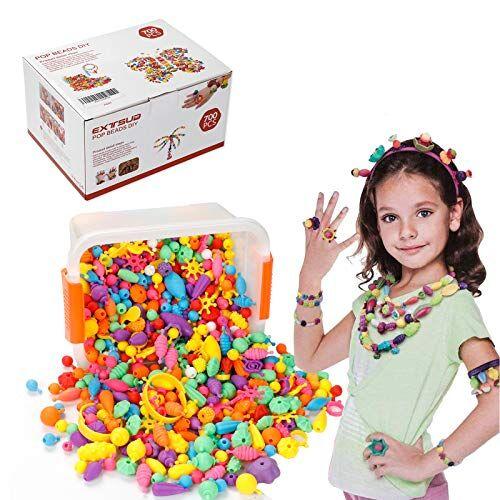 EXTSUD Giocattolo Bambina Set Pop Perline Colorate Fai da Te 700Pz Giochi Creativi Bambine Kit Assortiti Senza BPA per Fare Collane Bracciali Anelli Gioielli Artistici Gioco Bambina Ragazza