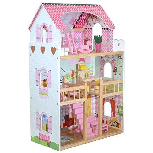 boppi casa delle bambole sogno mansion in legno + 17 mobili e accessori
