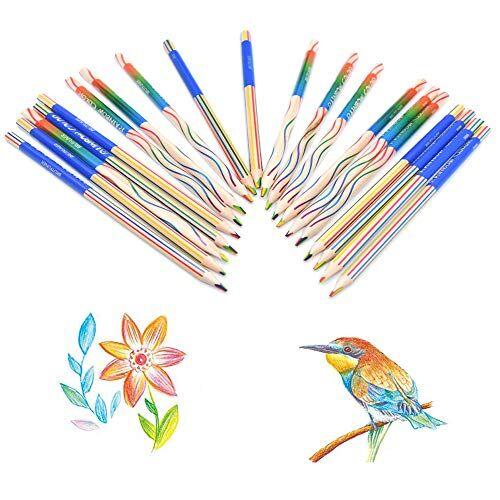 integrity.1 matite colorate arcobaleno, 20 pezzi di 4 in 1 set di matite colorate per artisti e bambini adulti che colorano e dipingono, graffiti fai-da-te