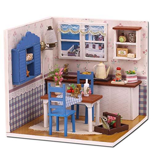 walmeck- casa delle bambole casa dei sogni fai da te casa in miniatura kit di costruzione giocattoli di legno giocattoli per bambino ragazza ragazzo
