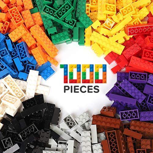 wyswyg mattoncini costruzioni 1000 pezzi per bambini compatibili con tutti i marchi classic inclusi 10 colori e 14 forme di mattoni adatti per porte giocattolo, finestre e pneumatici per bambini di 6 anni