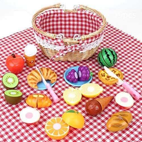 BeebeeRun Giocattolo Alimentare per Bambini,Tagliare Il Dessert alla Frutta con Cestino da Picnic e Tappetino da Picnic,Giocattoli da Cucina,Giochi d'imitazione,Giocattolo Educativo Infanzia 3 Anni+