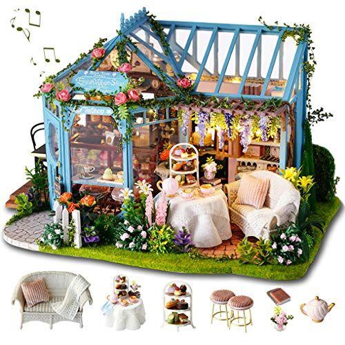 GuDoQi Miniatura Casa delle Bambole con Musica e Mobili, Kit di Modelli Artigianali Fai-da-Te da Costruire per Adulti e Collezionisti, Negozio di t da Giardino Fatto a Mano