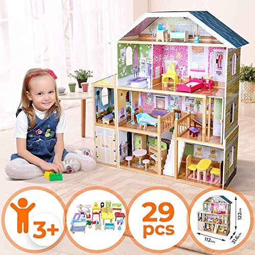 nova casa delle bambole in legno 112x31,6x122 cm, 4 livelli di gioco, 29 accessori e mobili inclusi, 8 stanze, per bambole di 30 cm - casetta per bambole, casa barbie miniatura