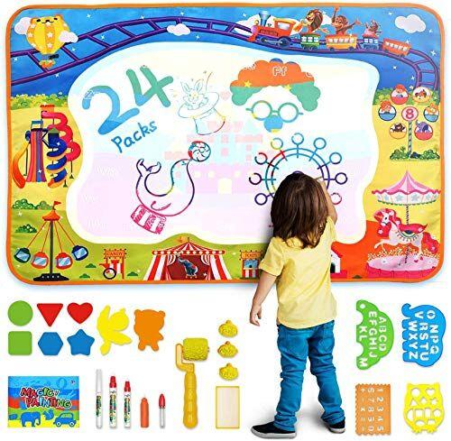 AOLUXLM Giocattoli per Bambini da 2-8 Anni, Acqua Doodle Tappeto 2019 Regalo di Natale, Doodle Tappeto Magico pennarelli con 5 Penne Magiche,1 Librett(Parco divertimenti)