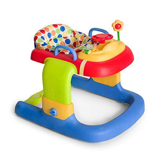 hauck 2 in 1 walker girello bambino primi passi evolutivo da 6 mesi a 12 kg, multifunzionale con ruote, centro giochi e seduta rimovibile, regolabile in altezza, dots (multicolore)