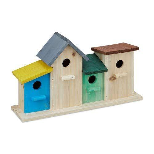 relaxdays 10023162 casette per uccelli su base in legno da esterno decorazione da giardino hxlxp: 26 x 46 x 12,5 cm colorato
