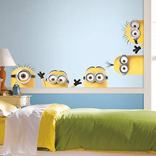 thedecofactory rmk3567gm cattivissimo me 3 peeking minions giant peel and stick wall decals riposizionabili, vinile, multicolore, 104 x 46 x 0,1 cm