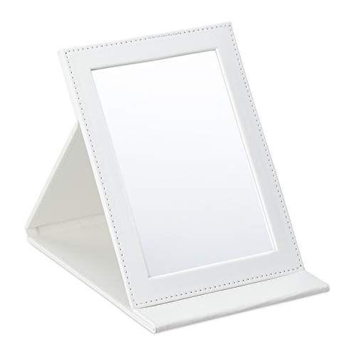 relaxdays - specchio pieghevole da viaggio, tavolo da toeletta e campeggio, in ecopelle, superficie specchiata (altezza x larghezza): 16 x 11 cm, colore: bianco