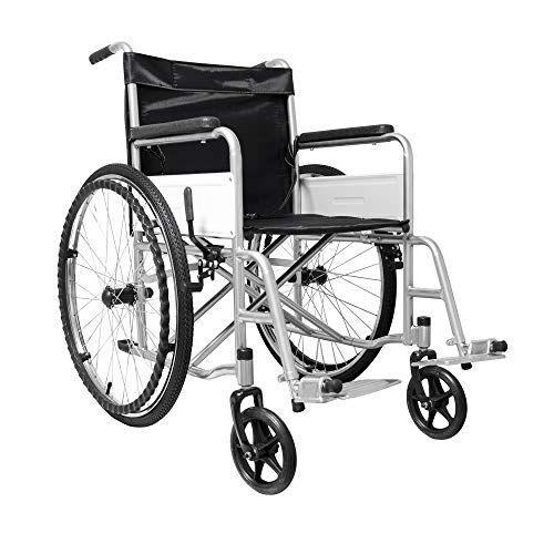 eglemtek sedia a rotelle pieghevole leggera ad autospinta, carrozzina per disabili ed anziani con braccioli e poggiapiedi estraibili, cintura di sicurezza, 85 x 69 x 91 cm colore nero e argento