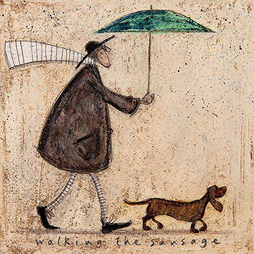 sam toft-bastone da passeggio per la salsiccia su tela, 40 x 40 cm, motivo: impronte, colore